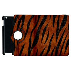 Skin3 Black Marble & Brown Burl Wood (r) Apple Ipad 2 Flip 360 Case