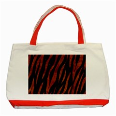 Skin3 Black Marble & Brown Burl Wood Classic Tote Bag (red) by trendistuff