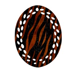 Skin3 Black Marble & Brown Burl Wood Oval Filigree Ornament (two Sides) by trendistuff