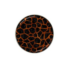 Skin1 Black Marble & Brown Burl Wood (r) Hat Clip Ball Marker (4 Pack) by trendistuff