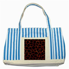 Skin1 Black Marble & Brown Burl Wood (r) Striped Blue Tote Bag by trendistuff