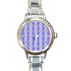 Light Blue Purple White Girly Pattern Round Italian Charm Watches by Costasonlineshop