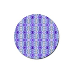 Light Blue Purple White Girly Pattern Rubber Round Coaster (4 Pack)