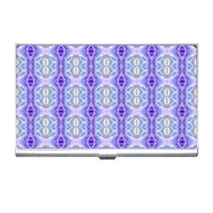 Light Blue Purple White Girly Pattern Business Card Holders by Costasonlineshop