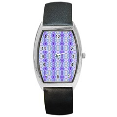 Light Blue Purple White Girly Pattern Barrel Metal Watches