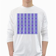 Light Blue Purple White Girly Pattern White Long Sleeve T Shirts
