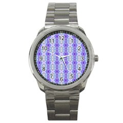 Light Blue Purple White Girly Pattern Sport Metal Watches