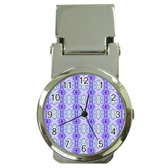 Light Blue Purple White Girly Pattern Money Clip Watches by Costasonlineshop