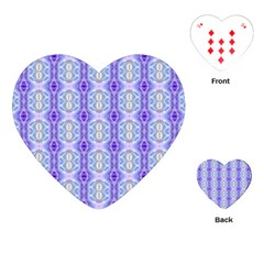 Light Blue Purple White Girly Pattern Playing Cards (heart)  by Costasonlineshop
