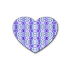 Light Blue Purple White Girly Pattern Rubber Coaster (heart)
