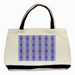 Light Blue Purple White Girly Pattern Basic Tote Bag (two Sides)
