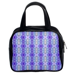 Light Blue Purple White Girly Pattern Classic Handbags (2 Sides)