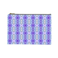 Light Blue Purple White Girly Pattern Cosmetic Bag (large)  by Costasonlineshop