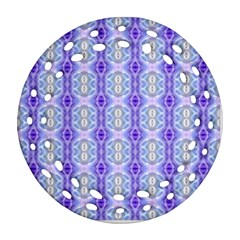 Light Blue Purple White Girly Pattern Ornament (round Filigree)  by Costasonlineshop