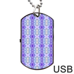 Light Blue Purple White Girly Pattern Dog Tag Usb Flash (one Side) by Costasonlineshop