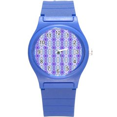 Light Blue Purple White Girly Pattern Round Plastic Sport Watch (s) by Costasonlineshop
