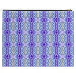 Light Blue Purple White Girly Pattern Cosmetic Bag (XXXL)  Back