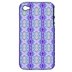 Light Blue Purple White Girly Pattern Apple Iphone 4/4s Hardshell Case (pc+silicone)