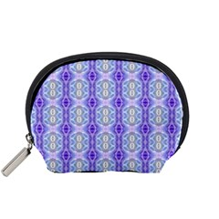 Light Blue Purple White Girly Pattern Accessory Pouches (small)  by Costasonlineshop