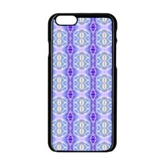 Light Blue Purple White Girly Pattern Apple Iphone 6/6s Black Enamel Case by Costasonlineshop