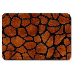 Skin1 Black Marble & Brown Burl Wood Large Doormat by trendistuff
