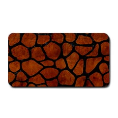 Skin1 Black Marble & Brown Burl Wood Medium Bar Mat by trendistuff