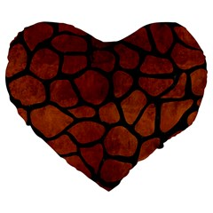 Skin1 Black Marble & Brown Burl Wood Large 19  Premium Heart Shape Cushion by trendistuff