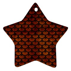 Scales3 Black Marble & Brown Burl Wood (r) Star Ornament (two Sides) by trendistuff
