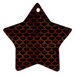 Scales3 Black Marble & Brown Burl Wood Star Ornament (two Sides) by trendistuff