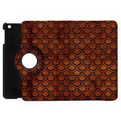 Scales2 Black Marble & Brown Burl Wood (r) Apple Ipad Mini Flip 360 Case by trendistuff