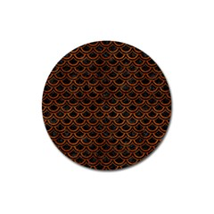 Scales2 Black Marble & Brown Burl Wood Magnet 3  (round) by trendistuff