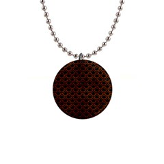 Scales2 Black Marble & Brown Burl Wood 1  Button Necklace by trendistuff