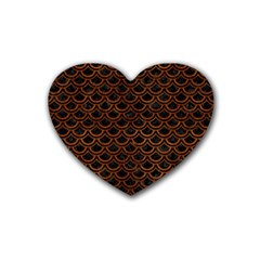 Scales2 Black Marble & Brown Burl Wood Rubber Heart Coaster (4 Pack) by trendistuff