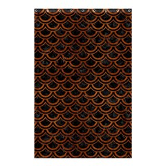 Scales2 Black Marble & Brown Burl Wood Shower Curtain 48  X 72  (small) by trendistuff