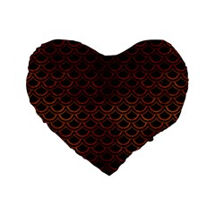 Scales2 Black Marble & Brown Burl Wood Standard 16  Premium Flano Heart Shape Cushion  by trendistuff