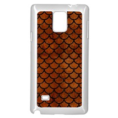 Scales1 Black Marble & Brown Burl Wood (r) Samsung Galaxy Note 4 Case (white) by trendistuff