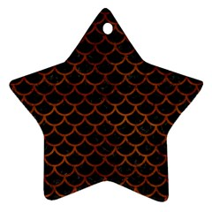 Scales1 Black Marble & Brown Burl Wood Ornament (star)