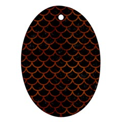 Scales1 Black Marble & Brown Burl Wood Oval Ornament (two Sides) by trendistuff