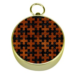 Puzzle1 Black Marble & Brown Burl Wood Gold Compass by trendistuff
