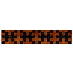 Puzzle1 Black Marble & Brown Burl Wood Flano Scarf (small) by trendistuff