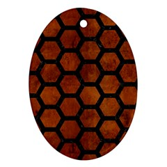 Hexagon2 Black Marble & Brown Burl Wood (r) Ornament (oval) by trendistuff