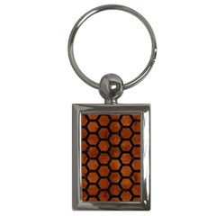 Hexagon2 Black Marble & Brown Burl Wood (r) Key Chain (rectangle) by trendistuff