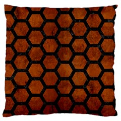 Hexagon2 Black Marble & Brown Burl Wood (r) Standard Flano Cushion Case (one Side) by trendistuff