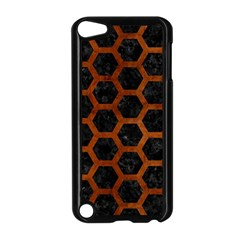 Hexagon2 Black Marble & Brown Burl Wood Apple Ipod Touch 5 Case (black) by trendistuff