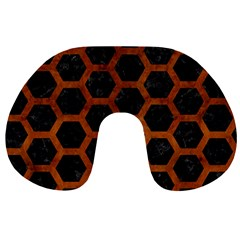 Hexagon2 Black Marble & Brown Burl Wood Travel Neck Pillow by trendistuff