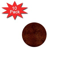 Hexagon1 Black Marble & Brown Burl Wood (r) 1  Mini Button (10 Pack)  by trendistuff