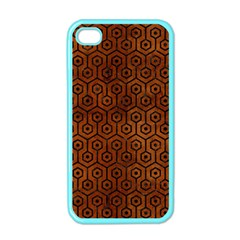 Hexagon1 Black Marble & Brown Burl Wood (r) Apple Iphone 4 Case (color) by trendistuff