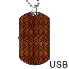 Hexagon1 Black Marble & Brown Burl Wood (r) Dog Tag Usb Flash (two Sides) by trendistuff
