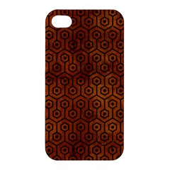 Hexagon1 Black Marble & Brown Burl Wood (r) Apple Iphone 4/4s Premium Hardshell Case by trendistuff