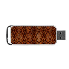 Hexagon1 Black Marble & Brown Burl Wood (r) Portable Usb Flash (one Side) by trendistuff